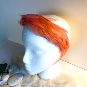Vintage 1950/60s Feather Headband Hat Coral Pink